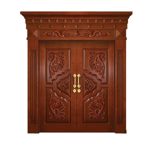 Carved wooden double leaf door