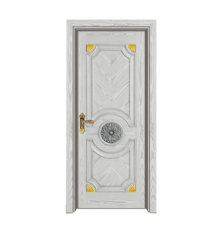 Minimalist light-colored wooden front door
