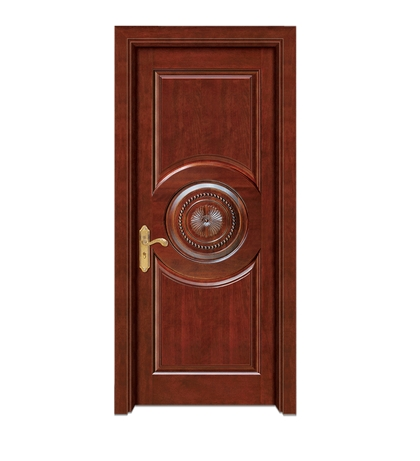Round + rectangular carved patterns wooden front door
