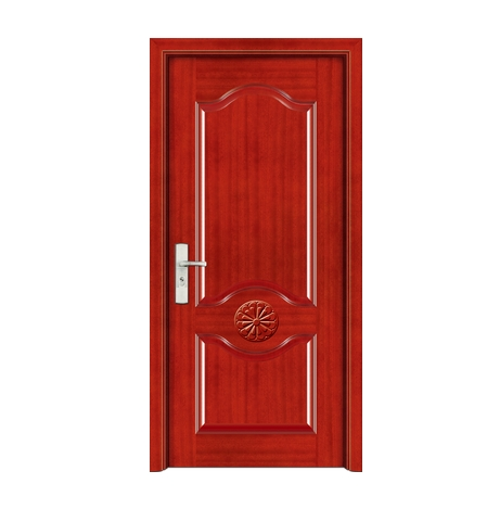 Minimalist carved wooden front door