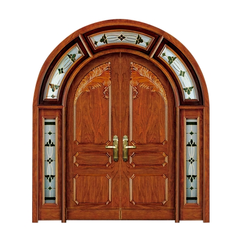 Carved oval wooden double leaf door