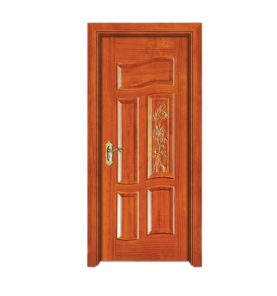 Carved wooden front door