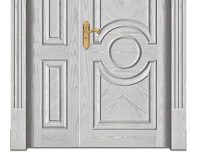 Light-colored combination patterns wooden front door