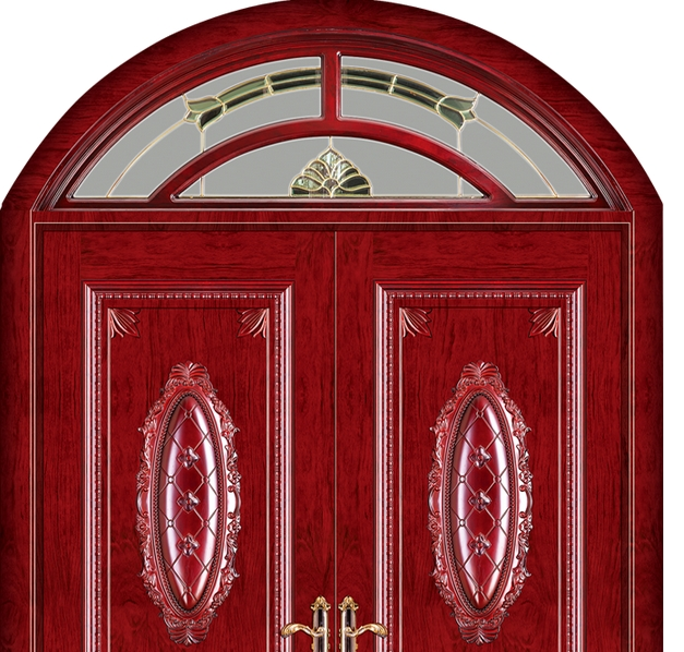 Oval carved wooden front door
