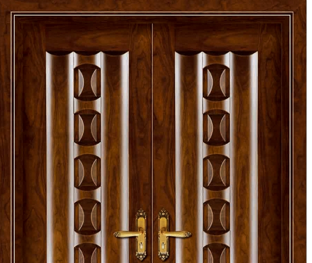 double row case grain wooden front door