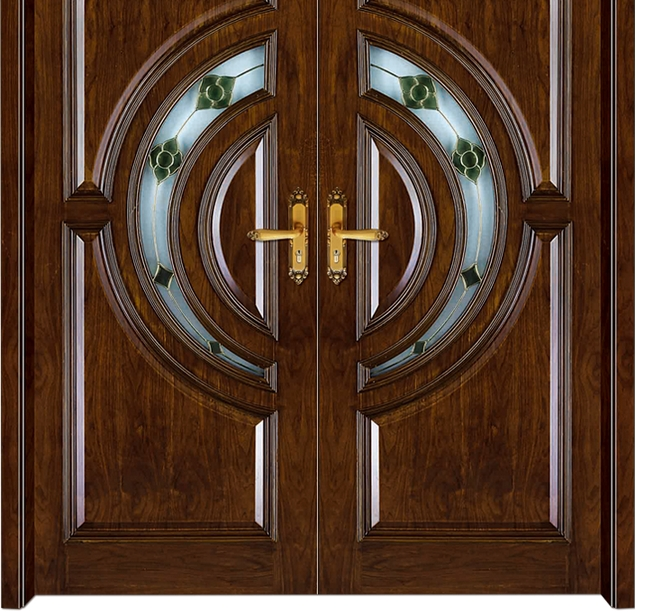 Combination circular patterns wooden front door