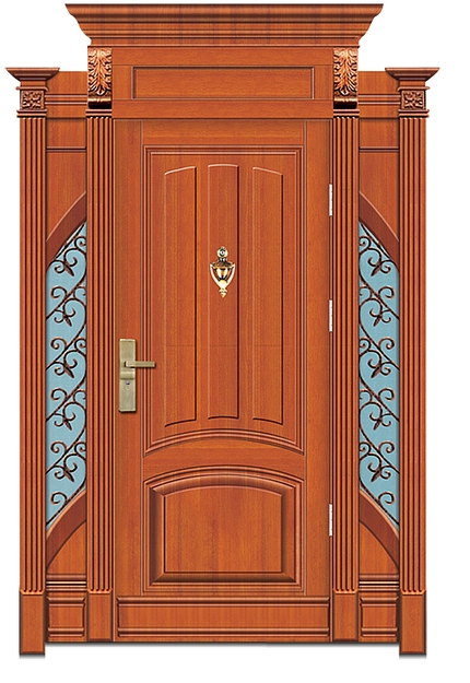 Rectangular striped wooden front door