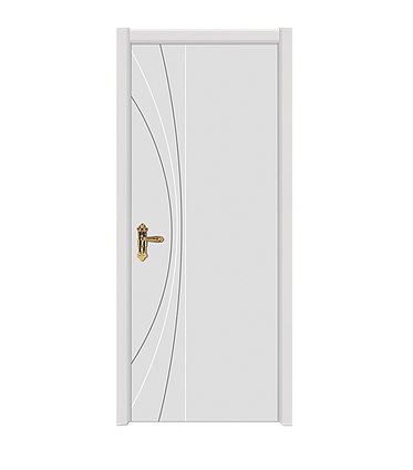 Striped white wooden flush door
