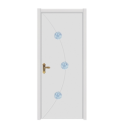 Circular pattern wooden flush door