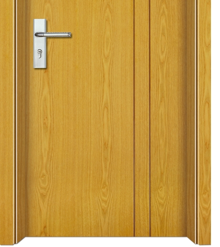 Cross lines wooden flush door