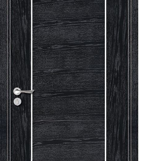 Double lines wooden flush door