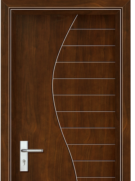 S-shaped striped wooden flush door