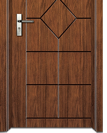 lines + lozenge wooden flush door
