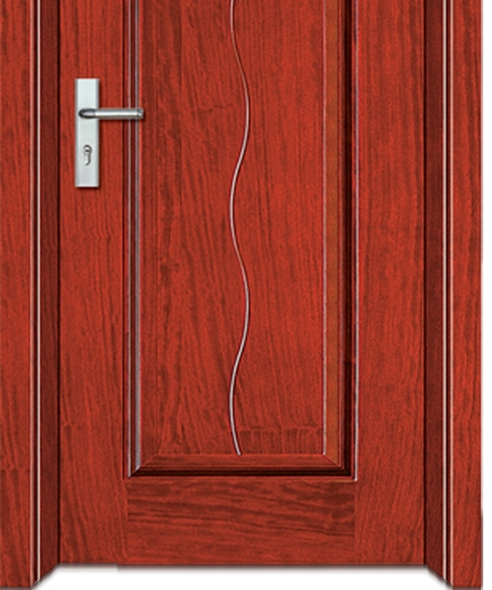 Rectangular + S-shaped lines wooden flush door