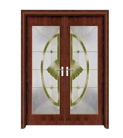 Semicircular patterns glass wooden double door