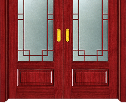 Chinese style glass wooden double leaf door