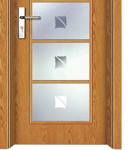 Rectangular patterns glass wooden door
