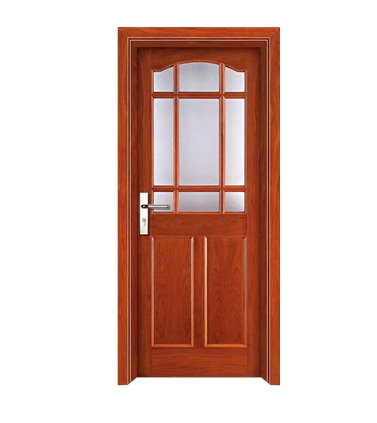 Nine grid pattern glass wooden door