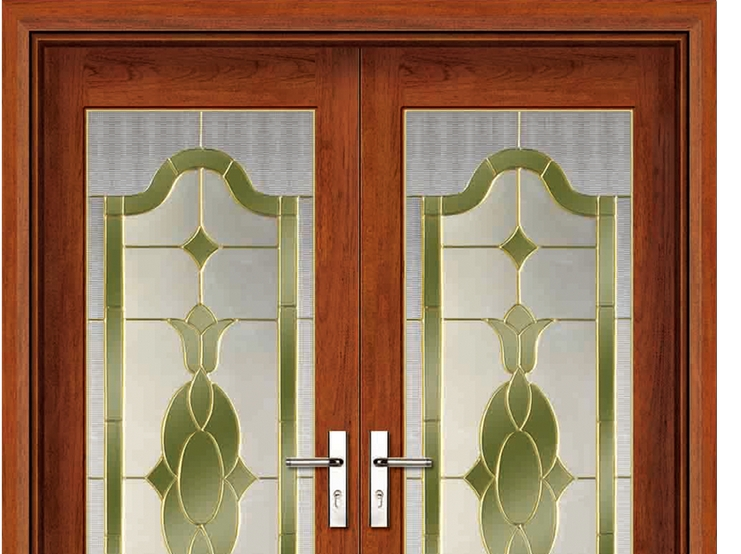 Fashion patterns glass wooden double leaf door