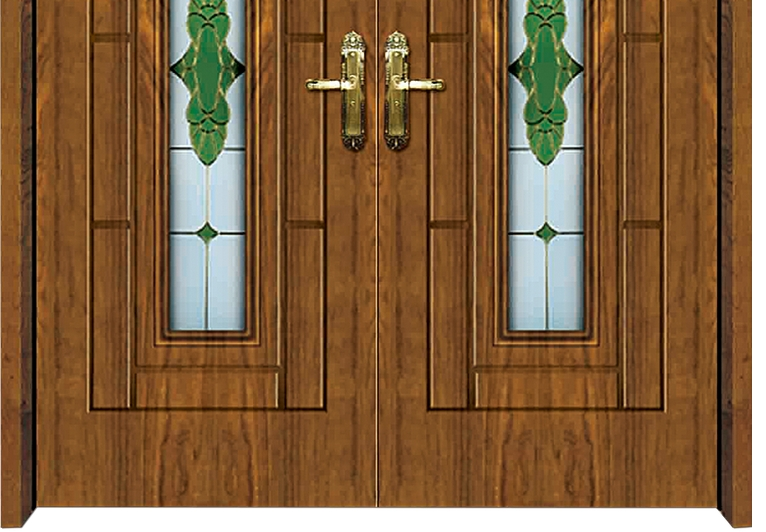 Oval patterns glass wooden double leaf door