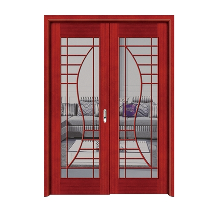 Lines glass wooden double leaf door