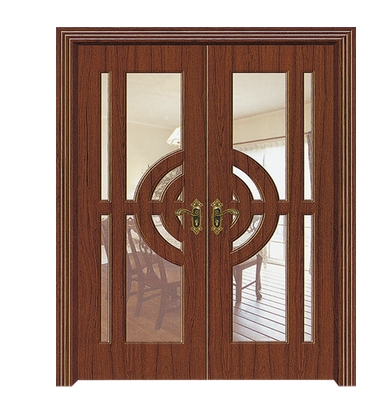 Large window glass PVC double leaf door