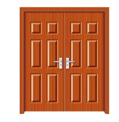 Rectangular patterns panel PVC double leaf door
