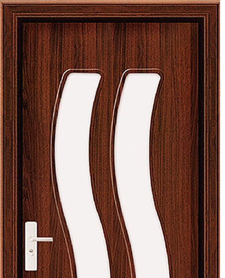 Double S-type patterns glass PVC door
