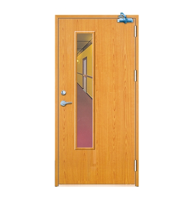 Rectangular window fire rated wood door