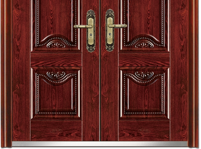 Carved steel double leaf door