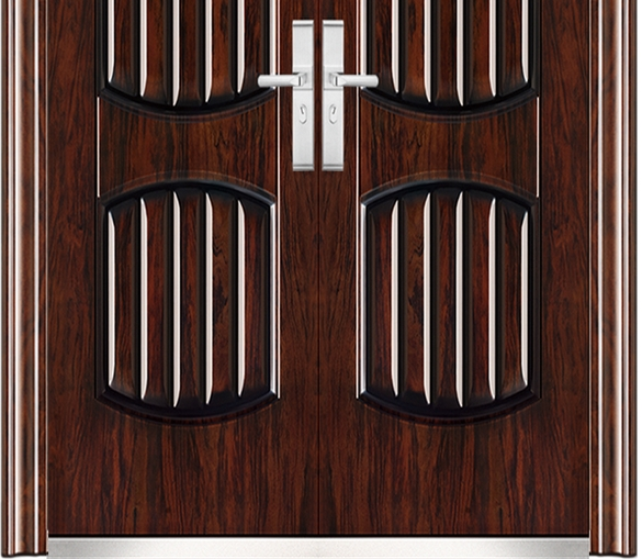 Stripe steel double leaf door