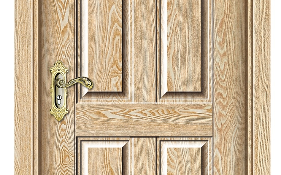 Wood grain series melamine flush door