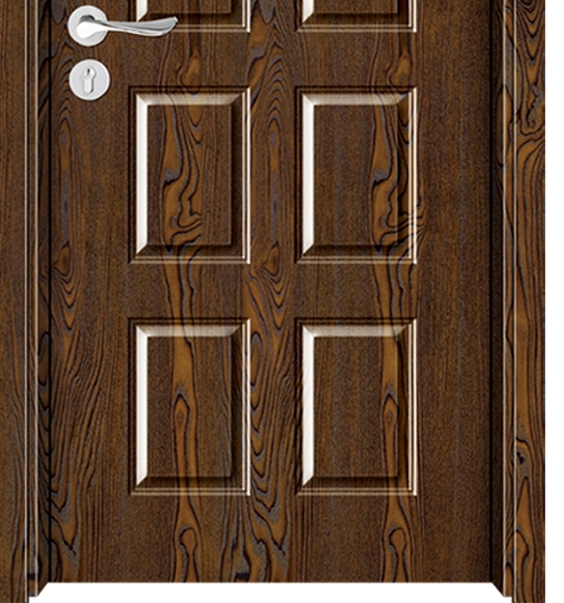 Rectangular case grain melamine flush door