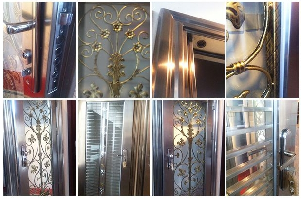 Small stripes stainless steel door
