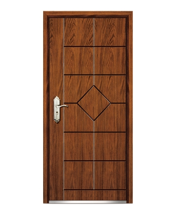 Simple steel-wooden front door
