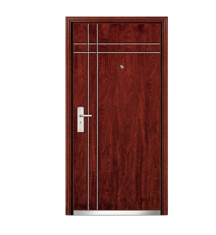 Dual lines steel-wooden front door