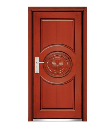 Combination patterns steel-wooden entry door