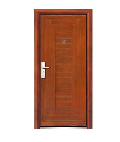 Multi stripes steel-wooden entry door