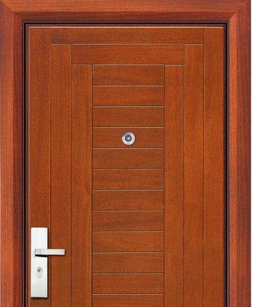 Multi stripes steel wooden entry door for Wood entry door manufacturers