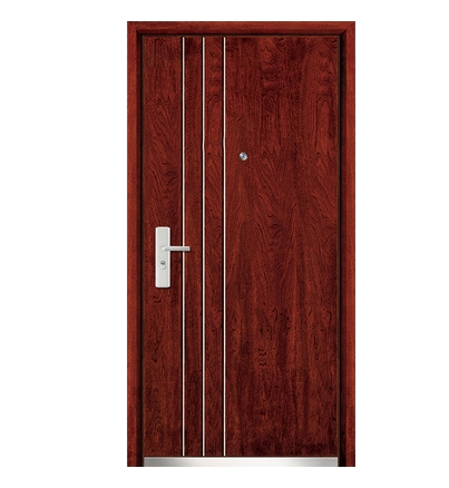 Three lines steel wooden entry door for Wood door manufacturers