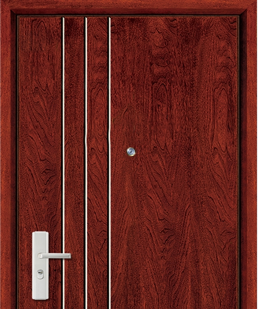 three lines steel-wooden entry door