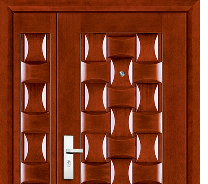 3D case grain steel-wooden entry door