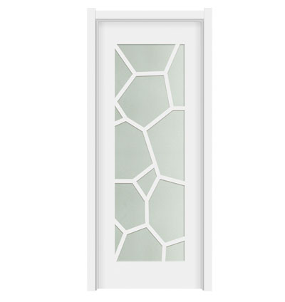 White glass wooden doors