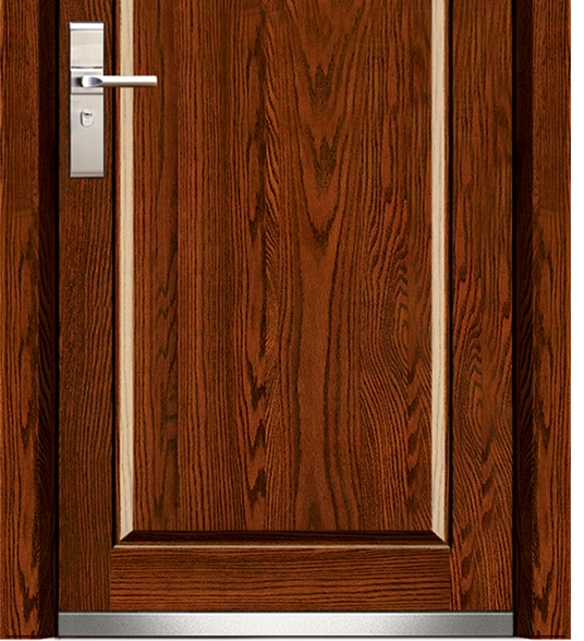 Minimalist steel-wooden entry door
