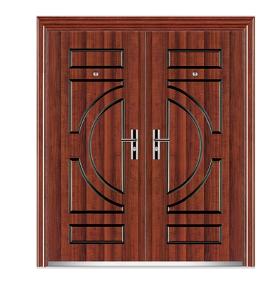 Circular pattern steel double leaf door