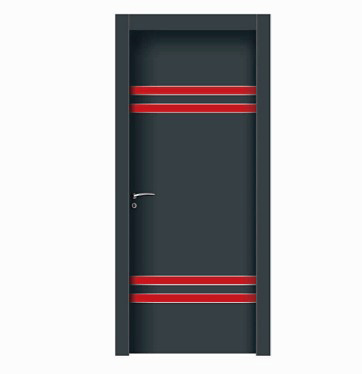 Double stripes gray wood plastic composite door