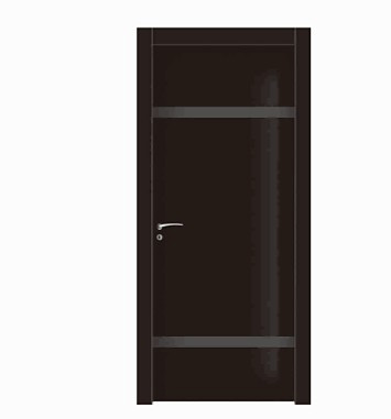 Single stripes black wood plastic composite door