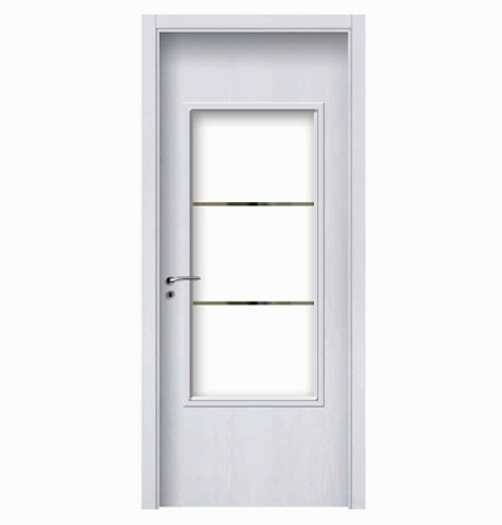 Three rectangular glass wood plastic composite door
