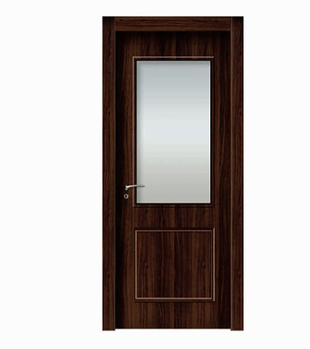 Retro woodgrain glass WPC door