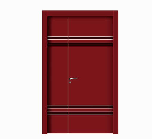 Double stripes red WPC unequal double door